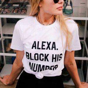 white Alexa crew neck graphic tee